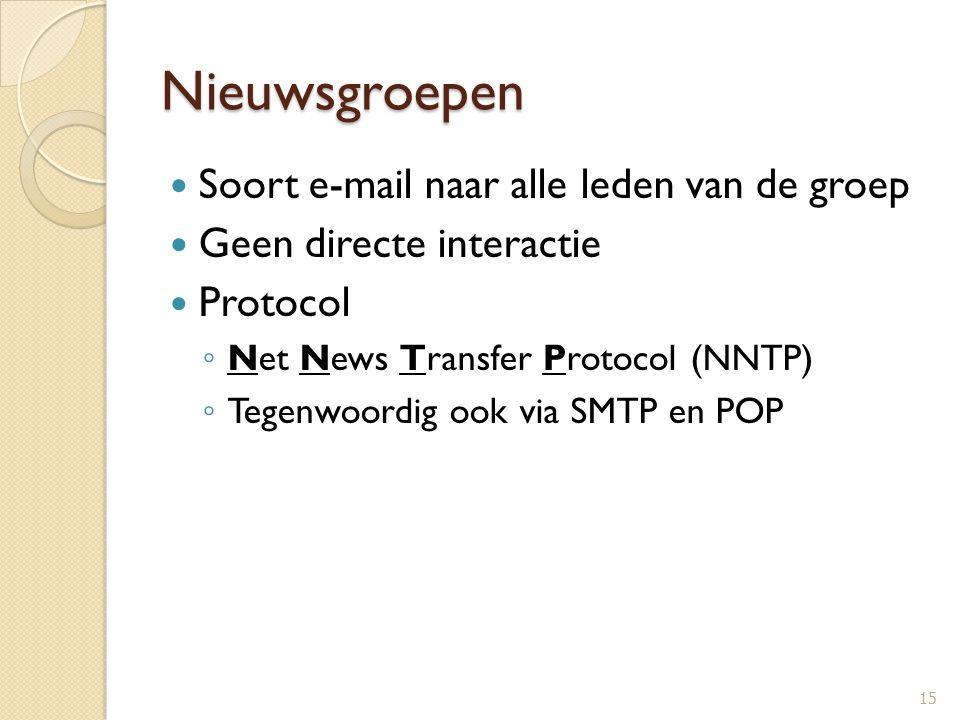 Nieuwsgroepen Soort e-mail naar alle leden van de groep Geen directe interactie Protocol ◦ Net News Transfer Protocol (NNTP) ◦ Tegenwoordig ook via SM