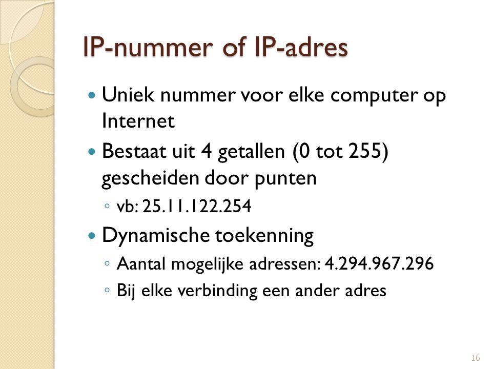 IP-nummer of IP-adres Uniek nummer voor elke computer op Internet Bestaat uit 4 getallen (0 tot 255) gescheiden door punten ◦ vb: 25.11.122.254 Dynami