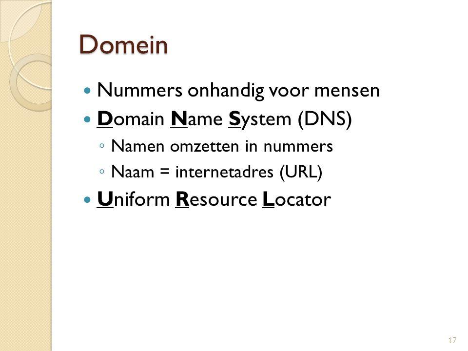 Domein Nummers onhandig voor mensen Domain Name System (DNS) ◦ Namen omzetten in nummers ◦ Naam = internetadres (URL) Uniform Resource Locator 17