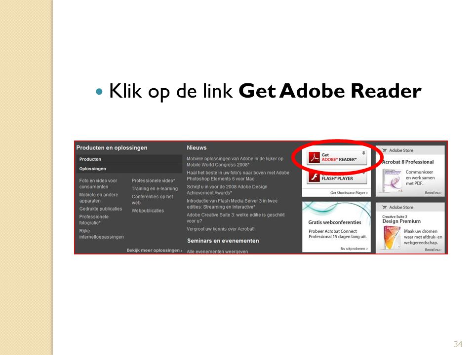34 Klik op de link Get Adobe Reader