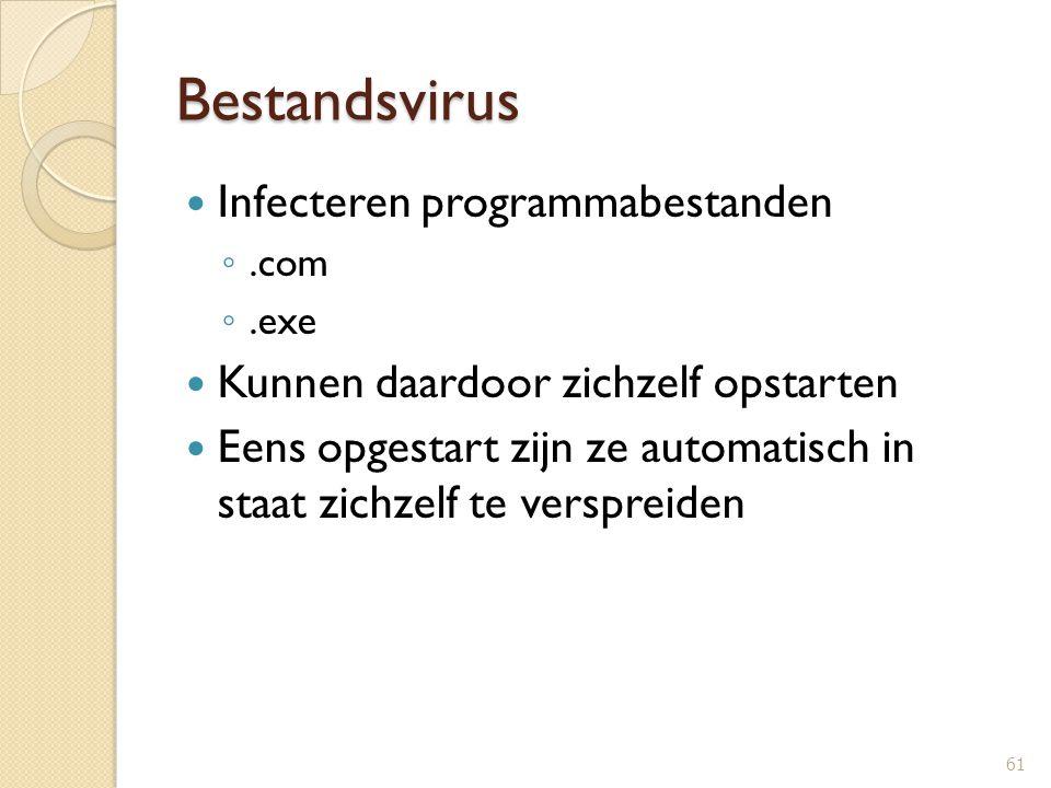 Bestandsvirus Infecteren programmabestanden ◦.com ◦.exe Kunnen daardoor zichzelf opstarten Eens opgestart zijn ze automatisch in staat zichzelf te ver