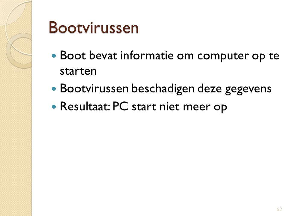 Trojan Horse Doel: anderen (virusschrijver) toegang geven tot jouw systeem Vb: Backdoor, Netbus en Subseven 63 Webbugs Kleine bestandjes ingebakken in webpagina's bedoeld om je surfgedrag te volgen