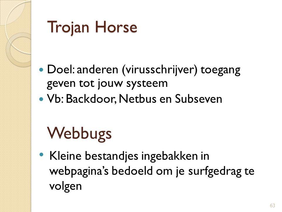 Trojan Horse Doel: anderen (virusschrijver) toegang geven tot jouw systeem Vb: Backdoor, Netbus en Subseven 63 Webbugs Kleine bestandjes ingebakken in