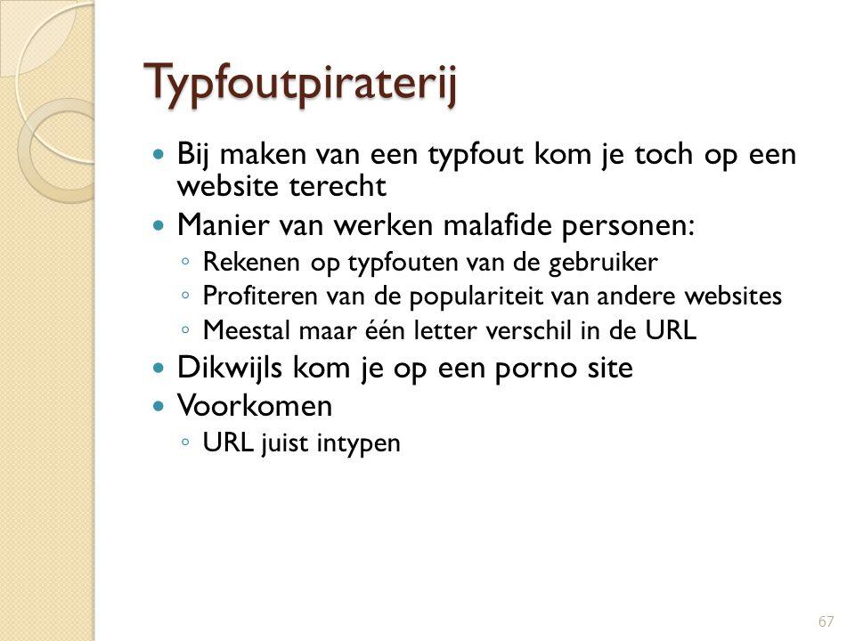 Typfoutpiraterij Bij maken van een typfout kom je toch op een website terecht Manier van werken malafide personen: ◦ Rekenen op typfouten van de gebru