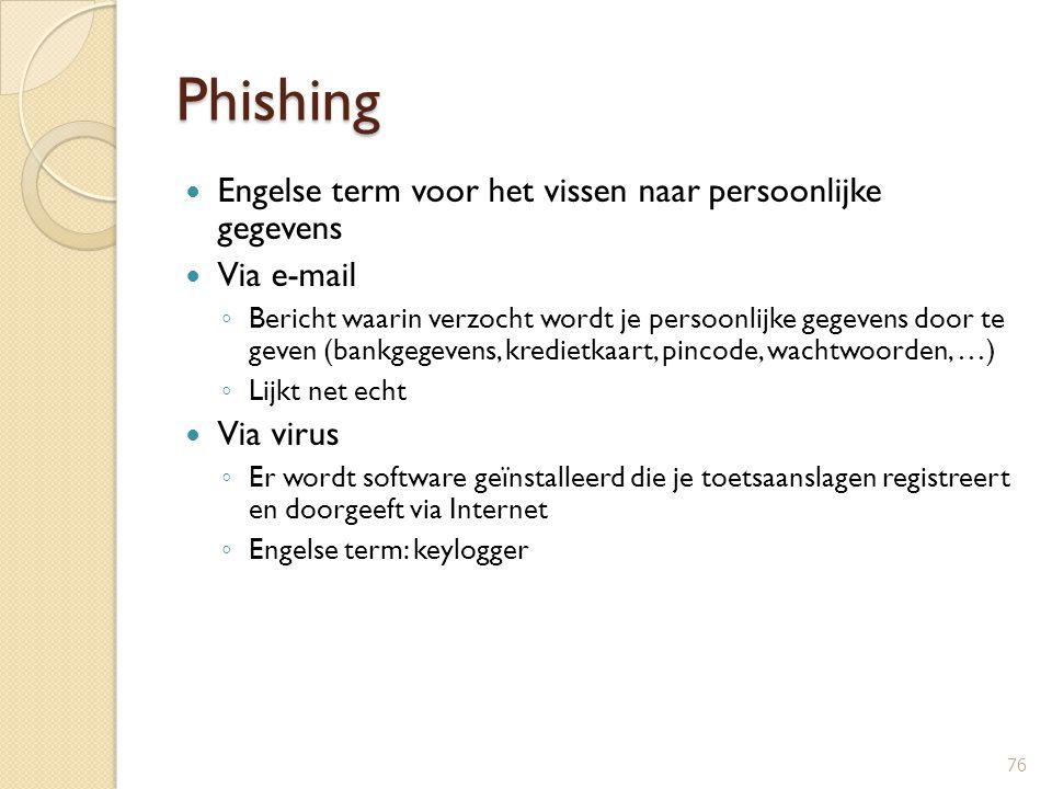 Phishing Engelse term voor het vissen naar persoonlijke gegevens Via e-mail ◦ Bericht waarin verzocht wordt je persoonlijke gegevens door te geven (ba