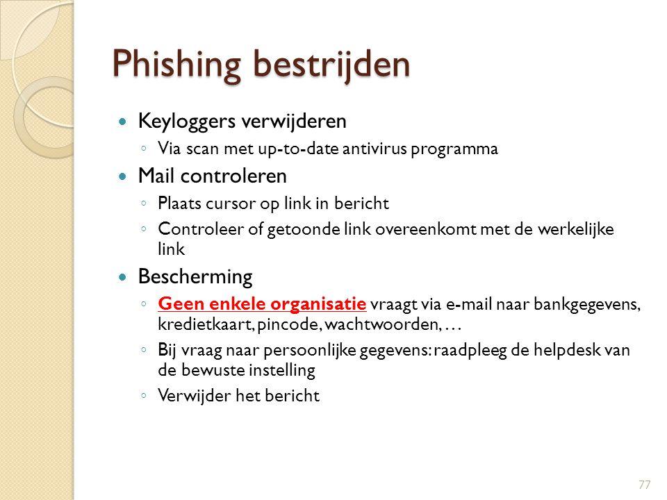 Phishing bestrijden Keyloggers verwijderen ◦ Via scan met up-to-date antivirus programma Mail controleren ◦ Plaats cursor op link in bericht ◦ Control