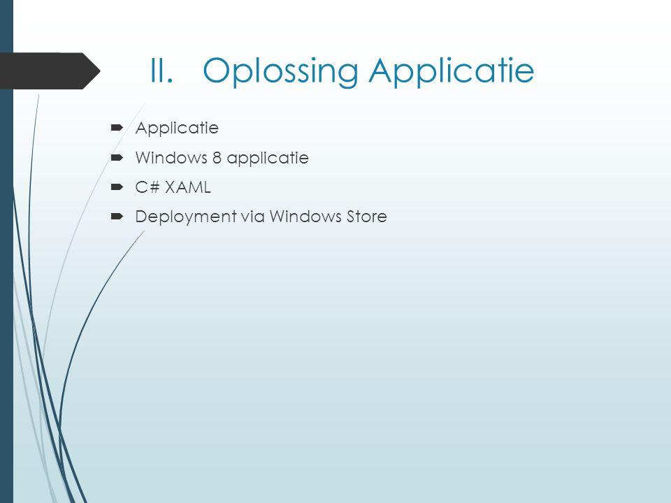 II. Oplossing Applicatie  Applicatie  Windows 8 applicatie  C# XAML  Deployment via Windows Store