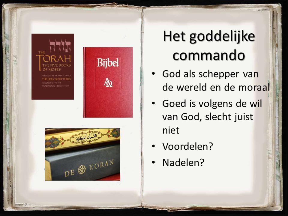 Het goddelijke commando God als schepper van de wereld en de moraal Goed is volgens de wil van God, slecht juist niet Voordelen? Nadelen? 72