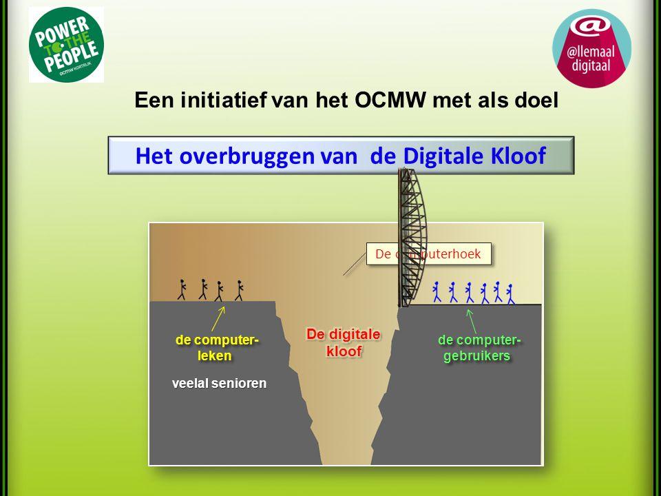 Het overbruggen van de Digitale Kloof Een initiatief van het OCMW met als doel De computerhoek de computer- de computer-gebruikers leken veelal senioren