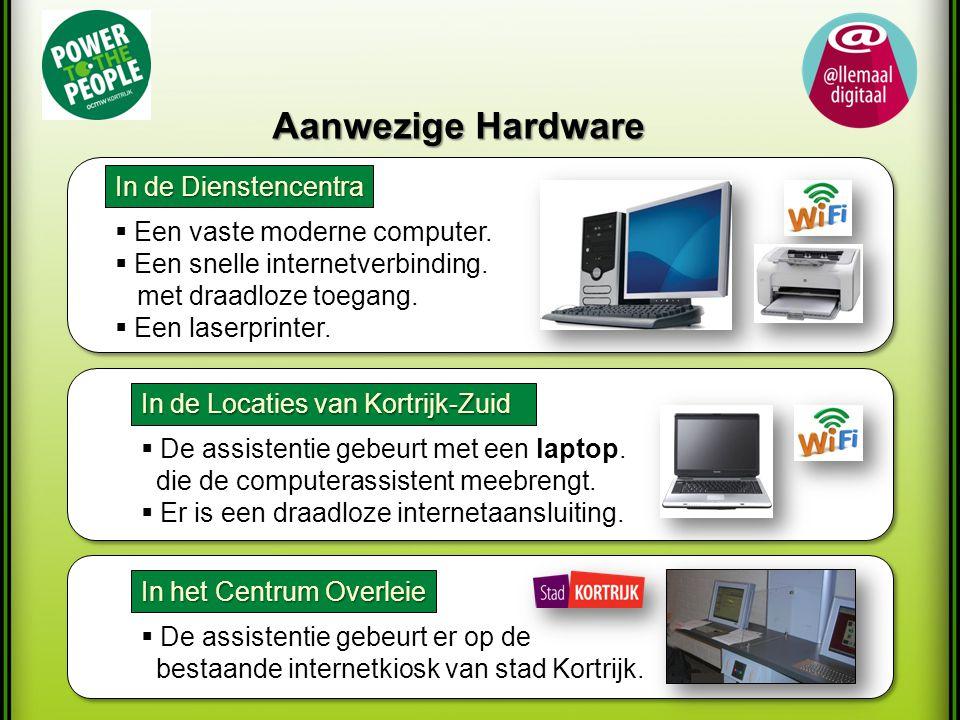 Aanwezige Hardware In de Dienstencentra  Een vaste moderne computer.