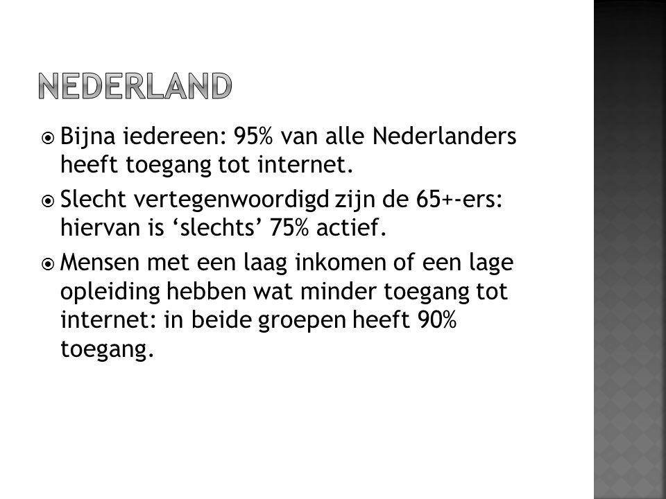  Bijna iedereen: 95% van alle Nederlanders heeft toegang tot internet.  Slecht vertegenwoordigd zijn de 65+-ers: hiervan is 'slechts' 75% actief. 