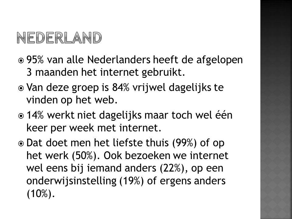  95% van alle Nederlanders heeft de afgelopen 3 maanden het internet gebruikt.  Van deze groep is 84% vrijwel dagelijks te vinden op het web.  14%
