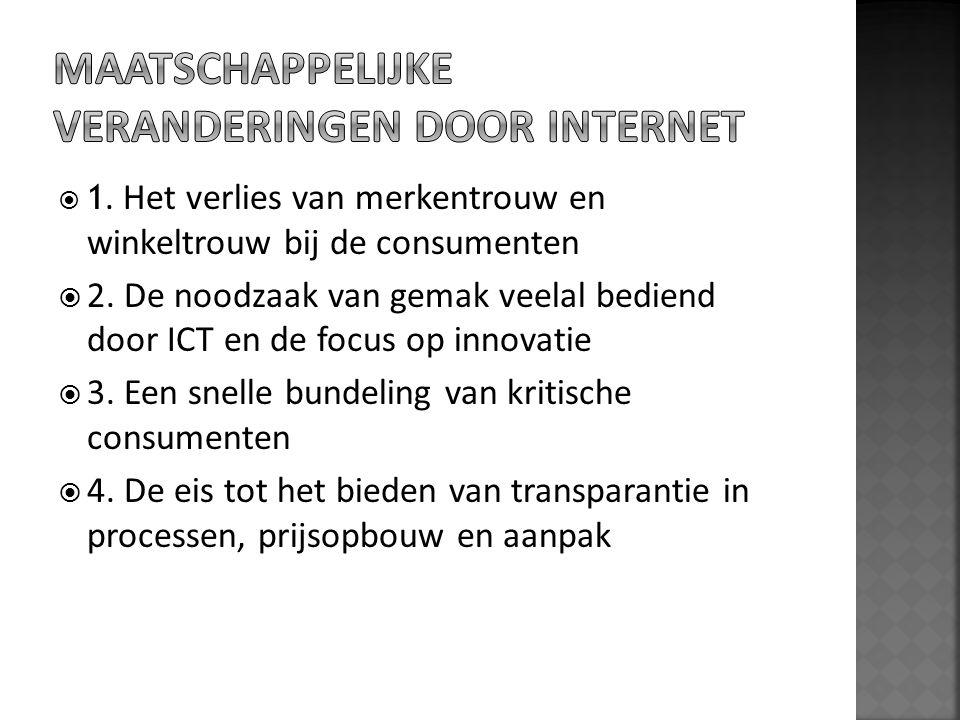  1. Het verlies van merkentrouw en winkeltrouw bij de consumenten  2. De noodzaak van gemak veelal bediend door ICT en de focus op innovatie  3. Ee