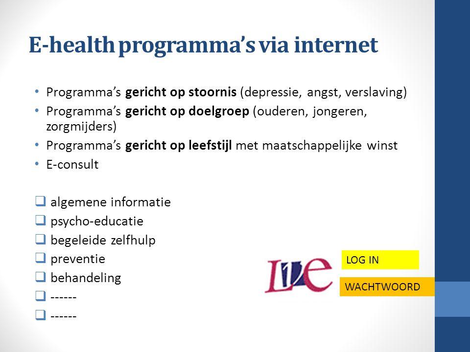 E-health programma's via internet Programma's gericht op stoornis (depressie, angst, verslaving) Programma's gericht op doelgroep (ouderen, jongeren,