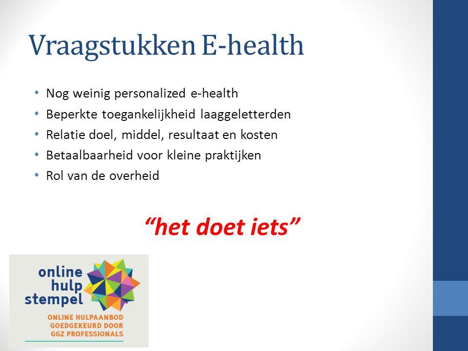 Vraagstukken E-health Nog weinig personalized e-health Beperkte toegankelijkheid laaggeletterden Relatie doel, middel, resultaat en kosten Betaalbaarh