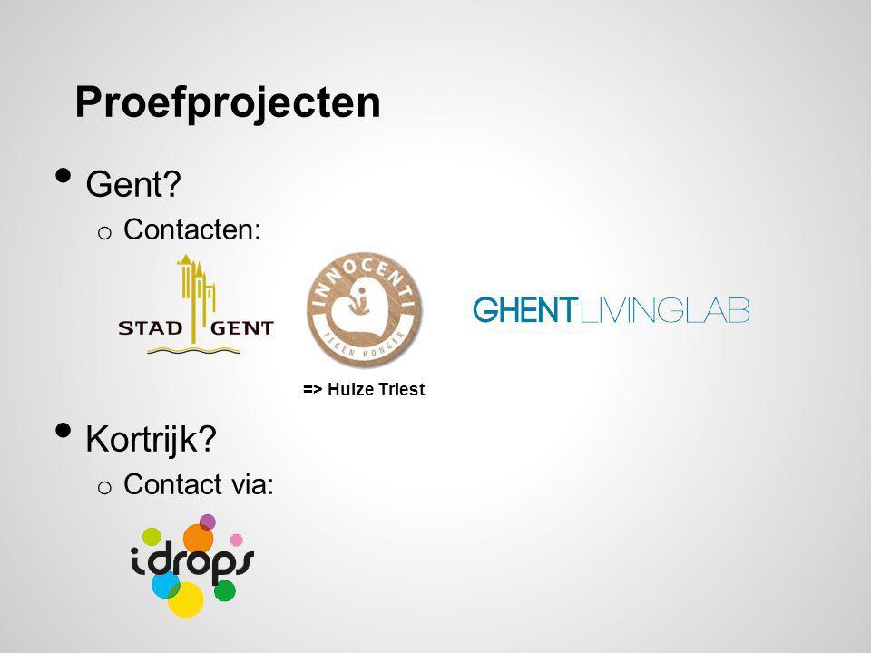 Proefprojecten Gent? o Contacten: Kortrijk? o Contact via: => Huize Triest