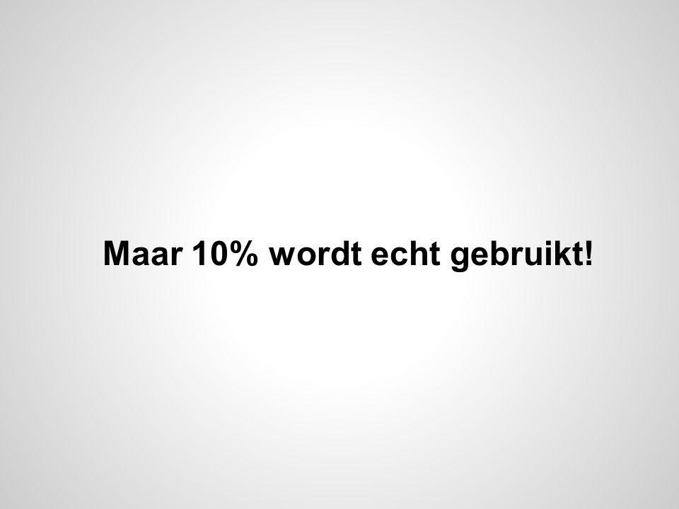 Maar 10% wordt echt gebruikt!