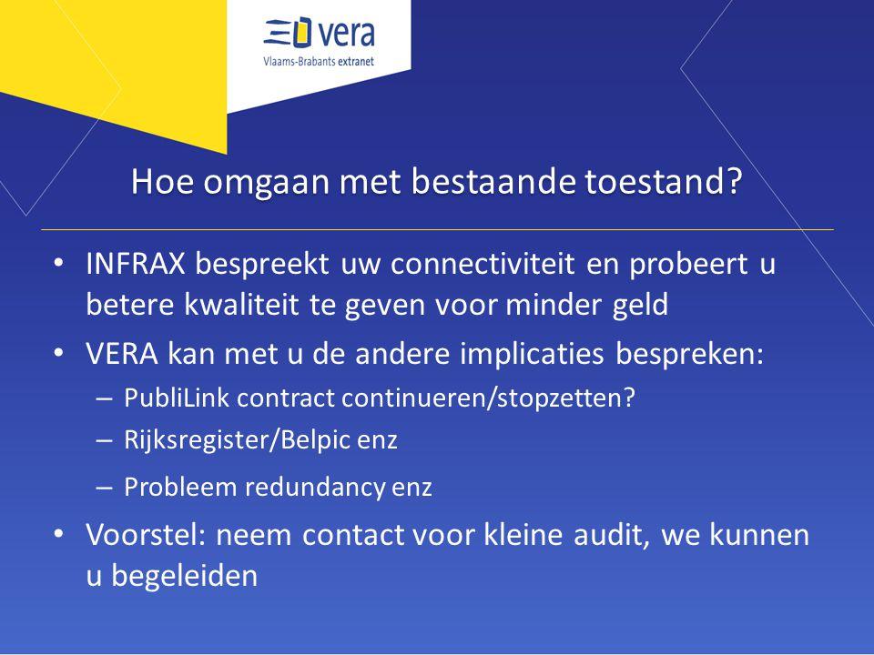 Hoe omgaan met bestaande toestand? INFRAX bespreekt uw connectiviteit en probeert u betere kwaliteit te geven voor minder geld VERA kan met u de ander