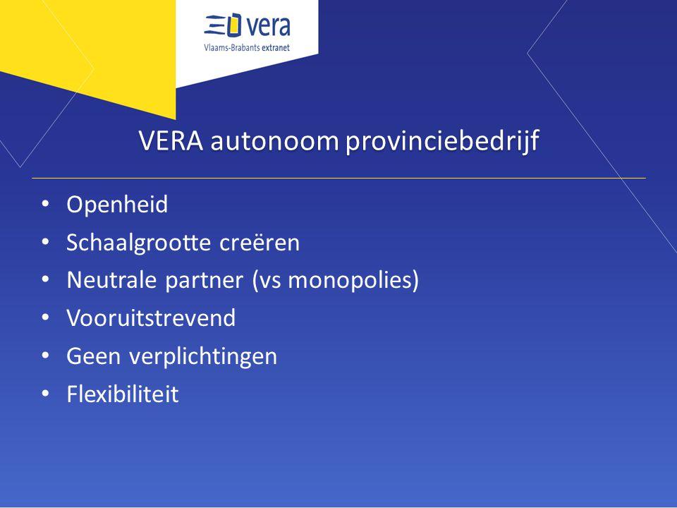 VERA autonoom provinciebedrijf Openheid Schaalgrootte creëren Neutrale partner (vs monopolies) Vooruitstrevend Geen verplichtingen Flexibiliteit