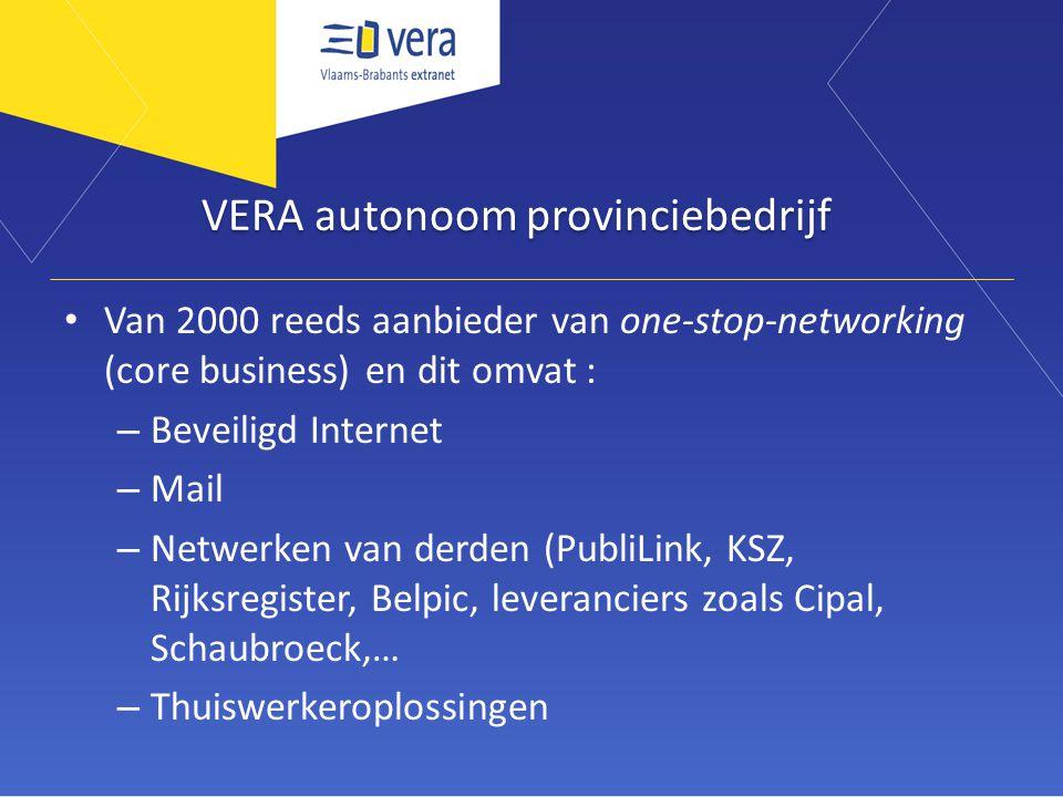 VERA autonoom provinciebedrijf Van 2000 reeds aanbieder van one-stop-networking (core business) en dit omvat : – Beveiligd Internet – Mail – Netwerken