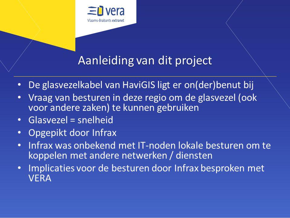 Aanleiding van dit project De glasvezelkabel van HaviGIS ligt er on(der)benut bij Vraag van besturen in deze regio om de glasvezel (ook voor andere za