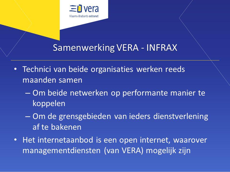 Samenwerking VERA - INFRAX Technici van beide organisaties werken reeds maanden samen – Om beide netwerken op performante manier te koppelen – Om de g