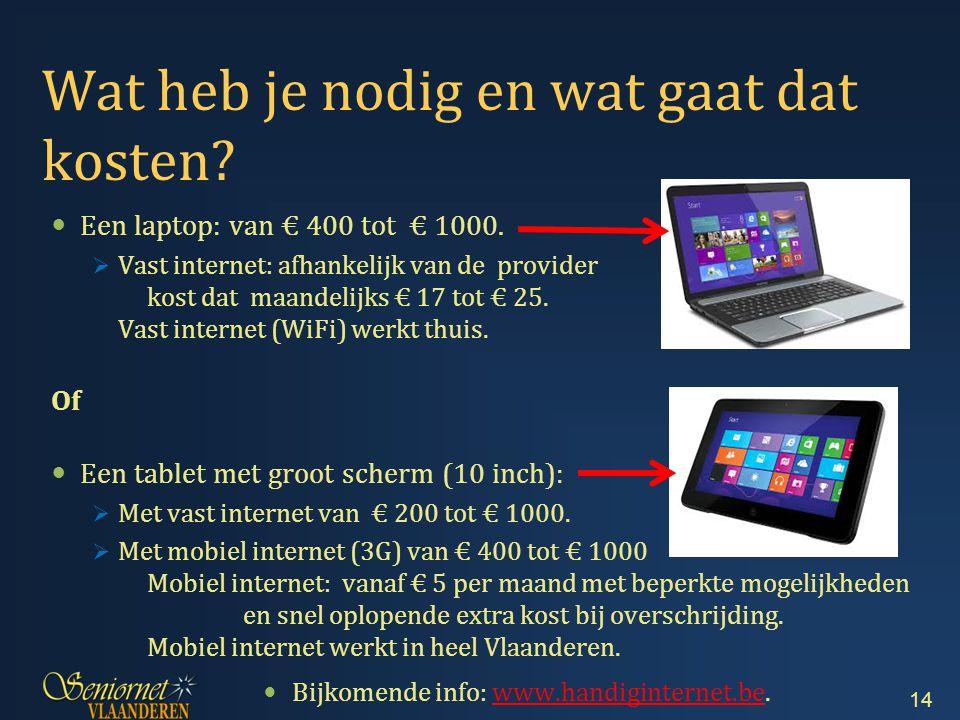 Wat heb je nodig en wat gaat dat kosten.Een laptop: van € 400 tot € 1000.
