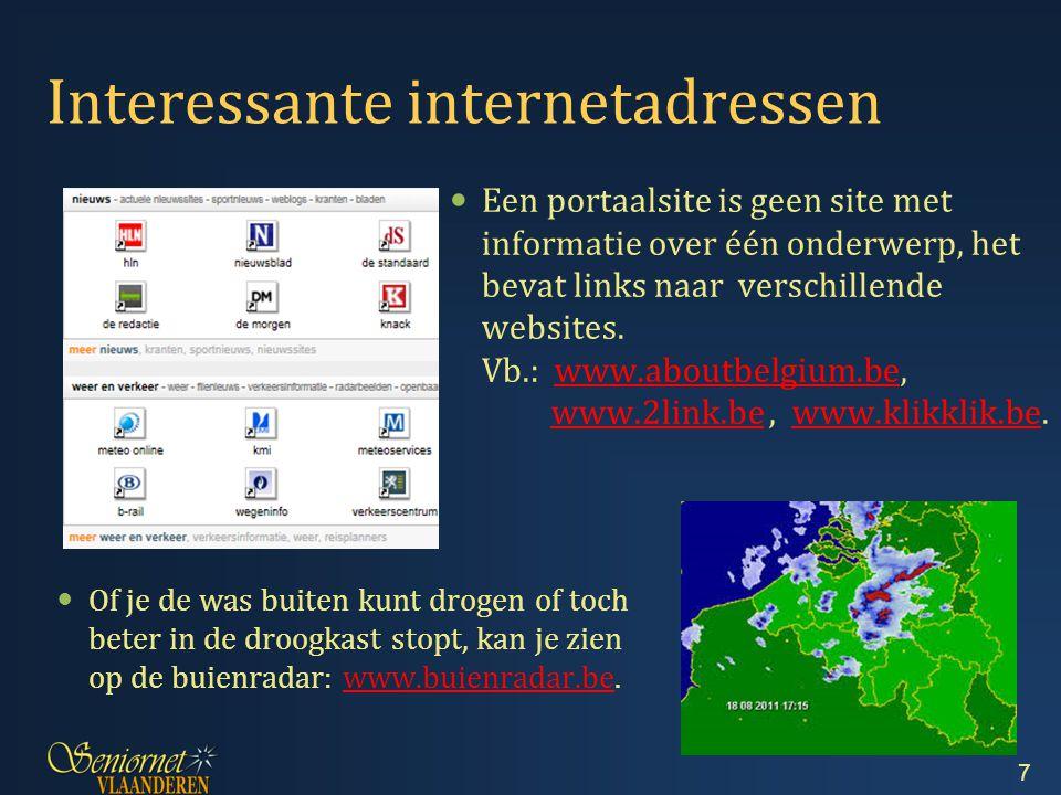 Indien je iets zoekt waarvan je geen internetadres kent, kan je het zoeken via Google: www.google.be.