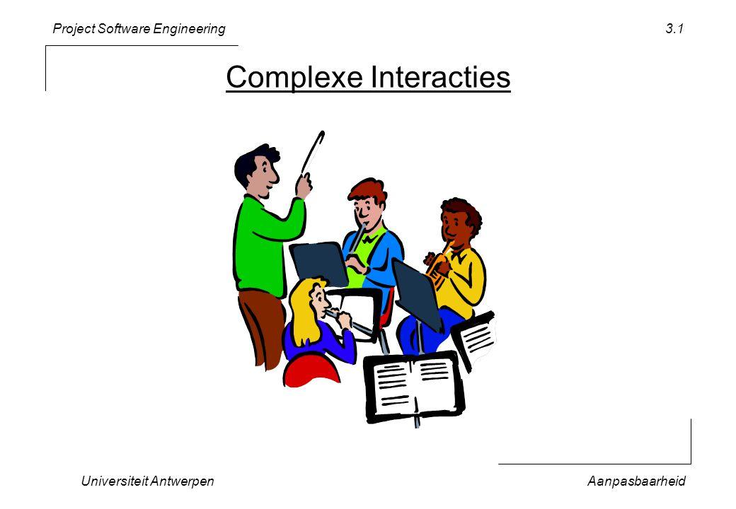 Project Software Engineering Universiteit AntwerpenAanpasbaarheid 3.12 void displayGame(TicTacToe& ttt) { char col, row; cout << TicTacToe numberOfMoves = << ttt.nrOfMoves() << endl; cout << a b c << endl; cout << ------------- << endl; for (row = minRow; row <= maxRow; row++) { cout << row; for (col = minCol; col <= maxCol; col++) { cout << | << ttt.getMark(col, row); } cout << | << endl; }; cout << ------------- << endl; } Afhankelijk van 4 constantes & 1 operatie
