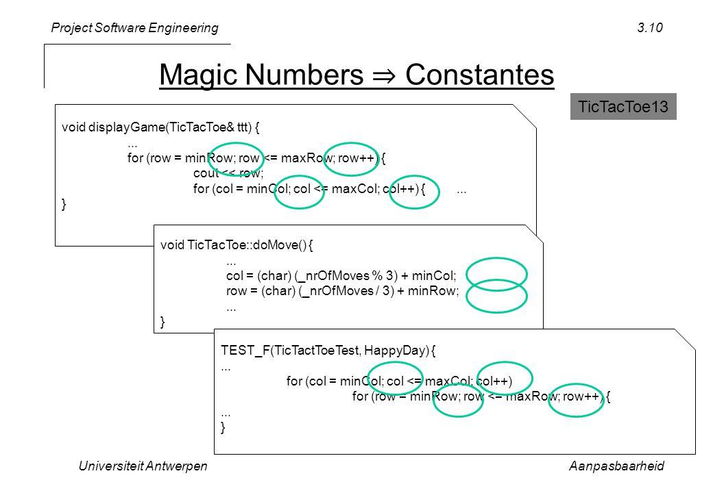 Project Software Engineering Magic Numbers ⇒ Constantes Universiteit AntwerpenAanpasbaarheid 3.10 void displayGame(TicTacToe& ttt) {... for (row = min