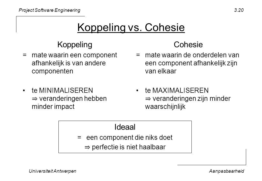 Project Software Engineering Universiteit AntwerpenAanpasbaarheid 3.20 Koppeling vs. Cohesie Koppeling =mate waarin een component afhankelijk is van a