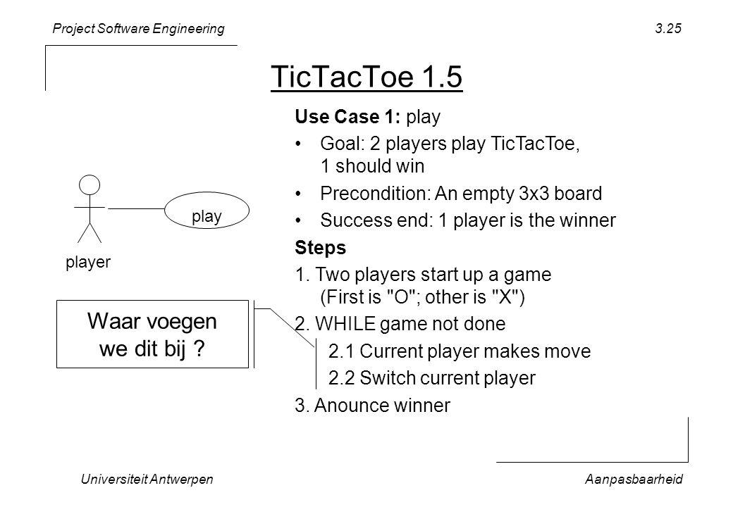 Project Software Engineering Universiteit AntwerpenAanpasbaarheid 3.25 TicTacToe 1.5 play player Use Case 1: play Goal: 2 players play TicTacToe, 1 sh