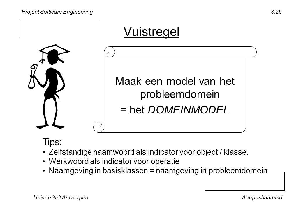 Project Software Engineering Universiteit AntwerpenAanpasbaarheid 3.26 Vuistregel Maak een model van het probleemdomein = het DOMEINMODEL Tips: Zelfst