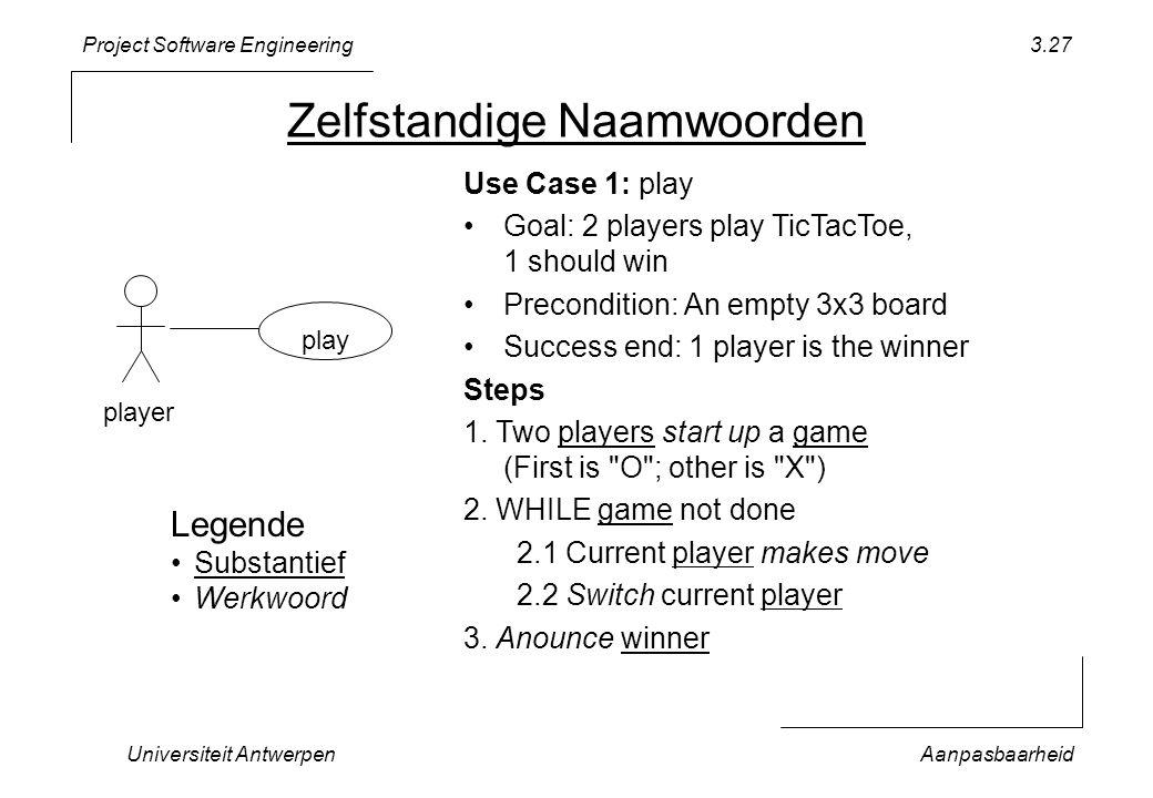 Project Software Engineering Universiteit AntwerpenAanpasbaarheid 3.27 Zelfstandige Naamwoorden play player Use Case 1: play Goal: 2 players play TicT