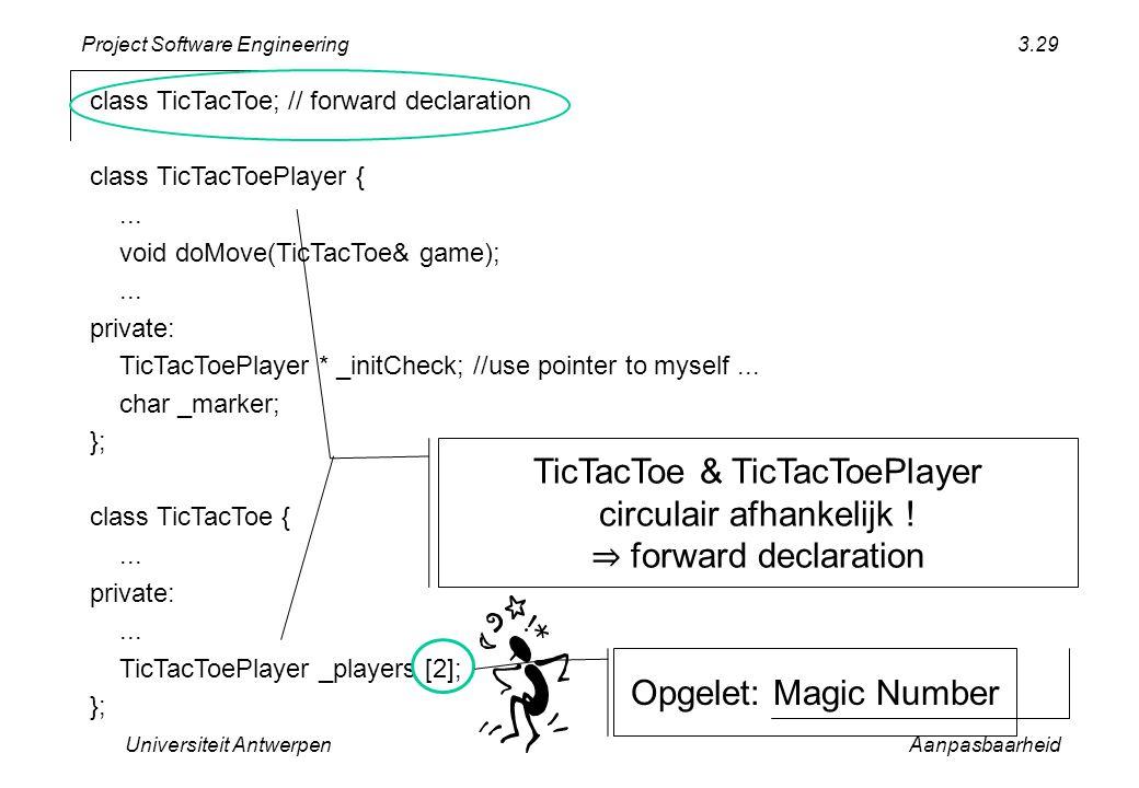 Project Software Engineering Universiteit AntwerpenAanpasbaarheid 3.29 class TicTacToe; // forward declaration class TicTacToePlayer {... void doMove(