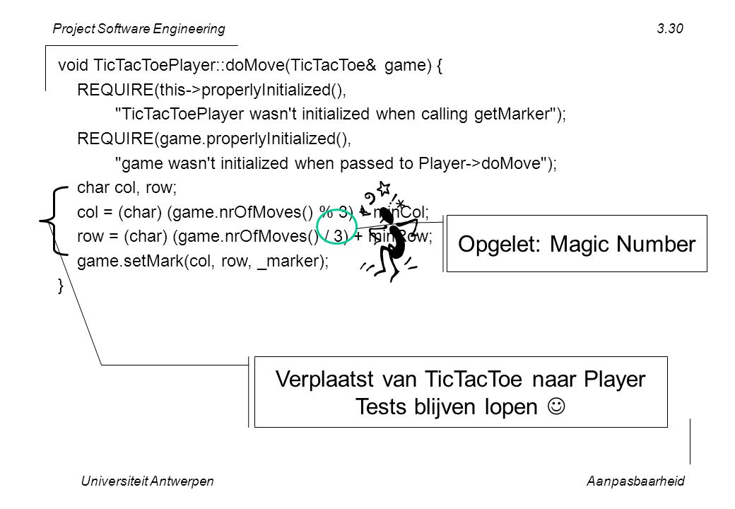 Project Software Engineering void TicTacToePlayer::doMove(TicTacToe& game) { REQUIRE(this->properlyInitialized(), TicTacToePlayer wasn t initialized when calling getMarker ); REQUIRE(game.properlyInitialized(), game wasn t initialized when passed to Player->doMove ); char col, row; col = (char) (game.nrOfMoves() % 3) + minCol; row = (char) (game.nrOfMoves() / 3) + minRow; game.setMark(col, row, _marker); } Universiteit AntwerpenAanpasbaarheid 3.30 Verplaatst van TicTacToe naar Player Tests blijven lopen Opgelet: Magic Number