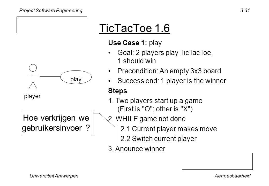Project Software Engineering Universiteit AntwerpenAanpasbaarheid 3.31 TicTacToe 1.6 play player Use Case 1: play Goal: 2 players play TicTacToe, 1 sh