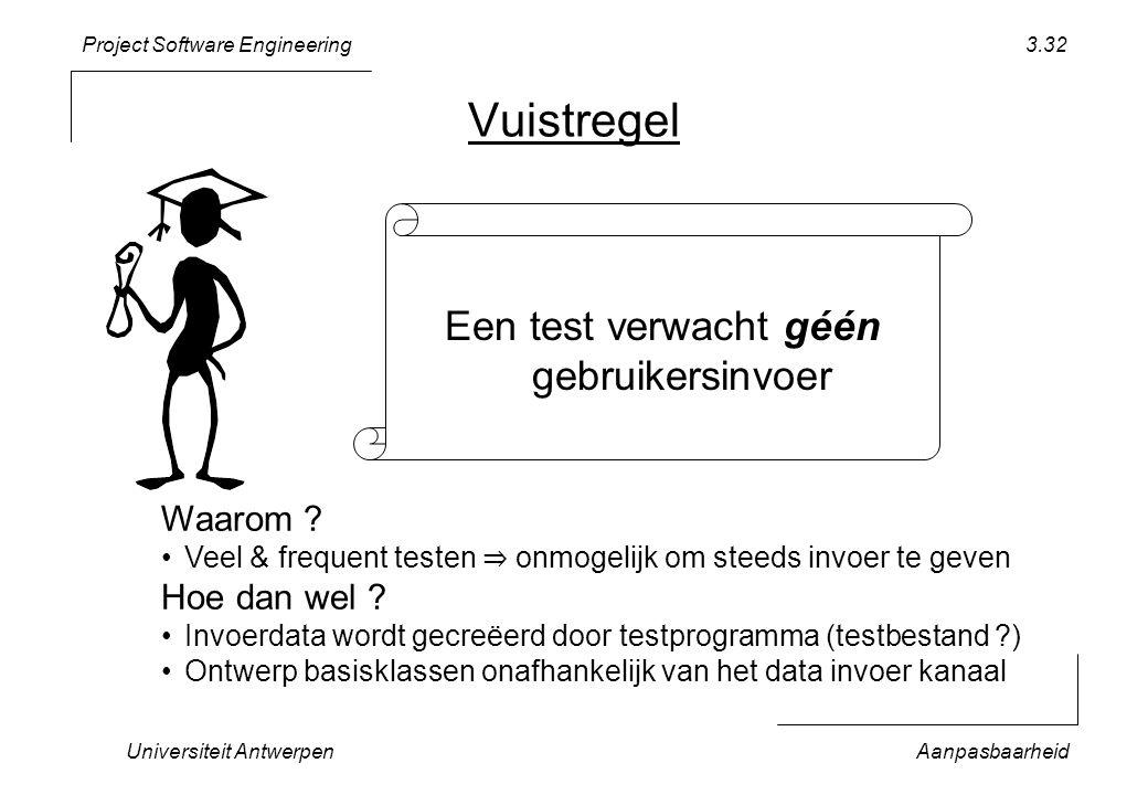 Project Software Engineering Universiteit AntwerpenAanpasbaarheid 3.32 Vuistregel Een test verwacht géén gebruikersinvoer Waarom ? Veel & frequent tes