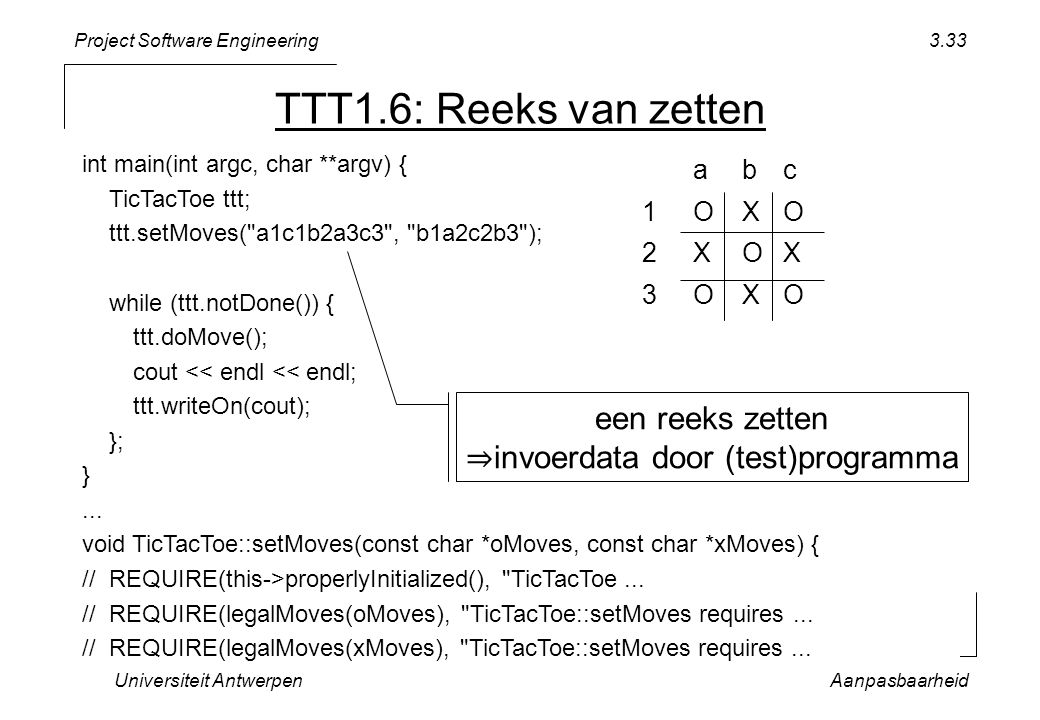 Project Software Engineering Universiteit AntwerpenAanpasbaarheid 3.33 int main(int argc, char **argv) { TicTacToe ttt; ttt.setMoves( a1c1b2a3c3 , b1a2c2b3 ); while (ttt.notDone()) { ttt.doMove(); cout << endl << endl; ttt.writeOn(cout); }; }...