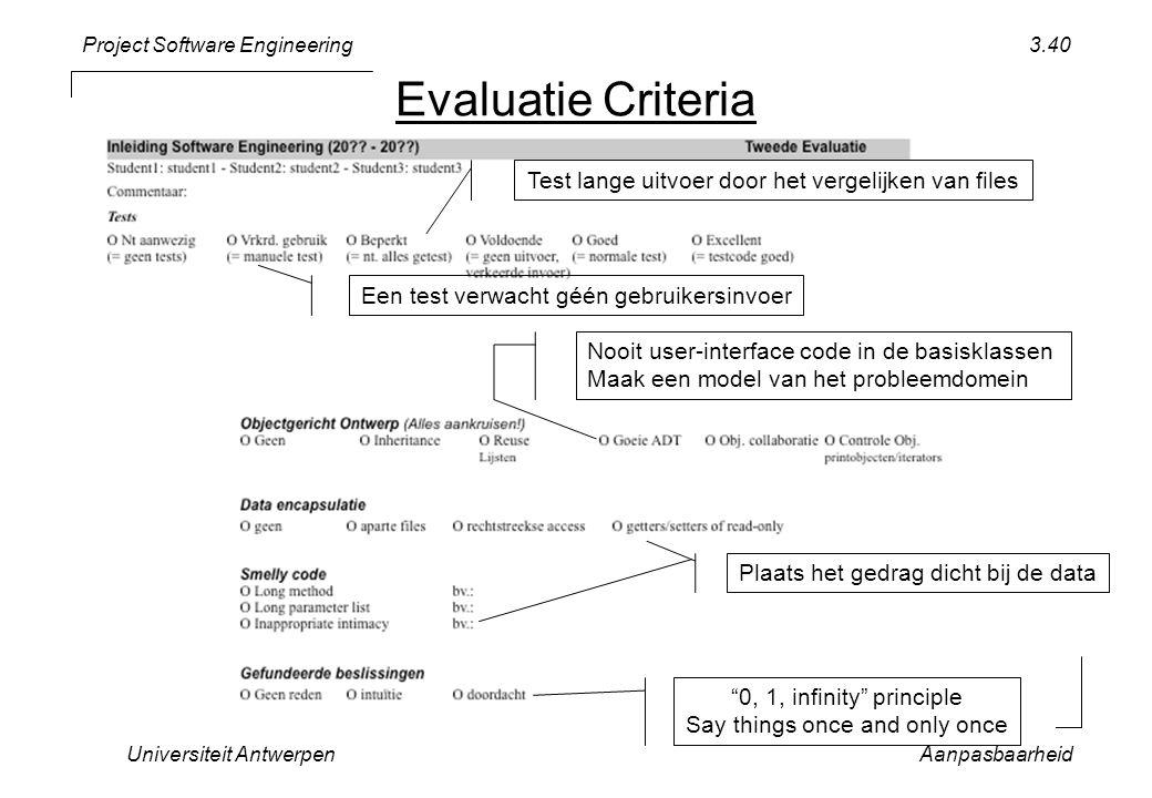 Project Software Engineering Universiteit AntwerpenAanpasbaarheid 3.40 0, 1, infinity principle Say things once and only once Nooit user-interface code in de basisklassen Maak een model van het probleemdomein Test lange uitvoer door het vergelijken van files Een test verwacht géén gebruikersinvoer Evaluatie Criteria Plaats het gedrag dicht bij de data