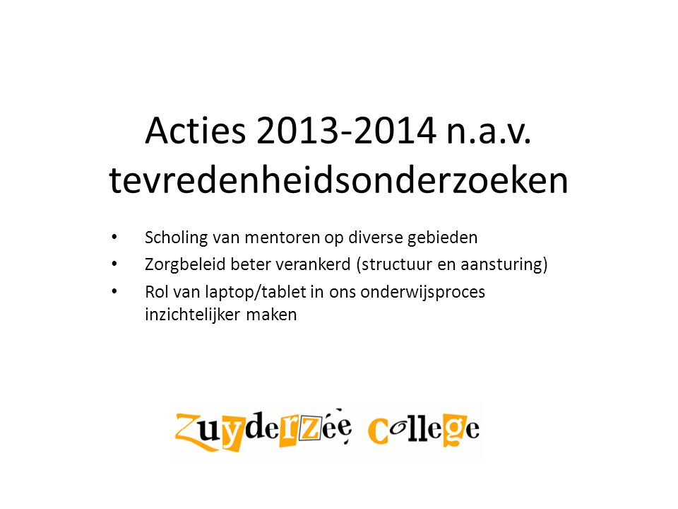 Acties 2013-2014 n.a.v.