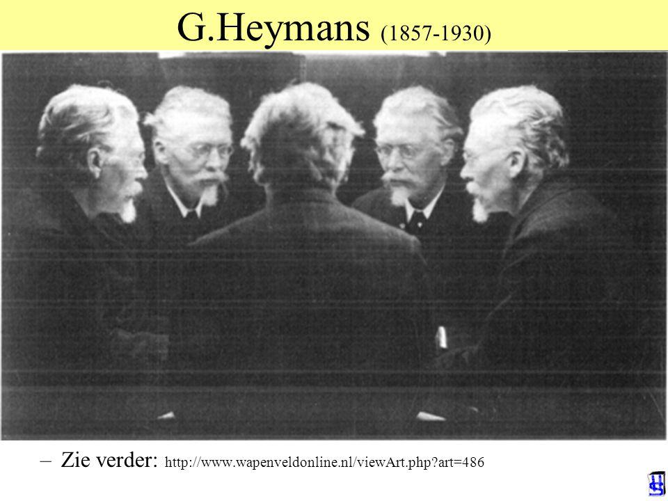 G.Heymans (1857-1930) De toekomstige eeuw der psychologie. Rede 1909 19e eeuw: Natuurwetenschappen dominant Maar, heeft niets aan geluk veranderd –Aan
