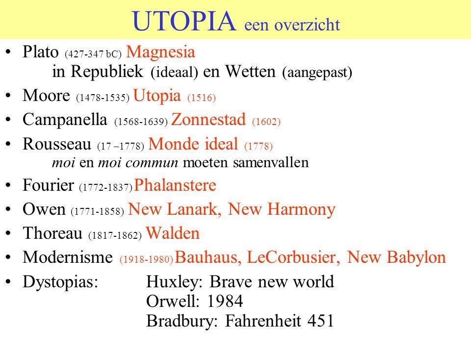 UTOPIA een overzicht Plato (427-347 bC) Magnesia in Republiek (ideaal) en Wetten (aangepast) Moore (1478-1535) Utopia (1516) Campanella (1568-1639) Zo