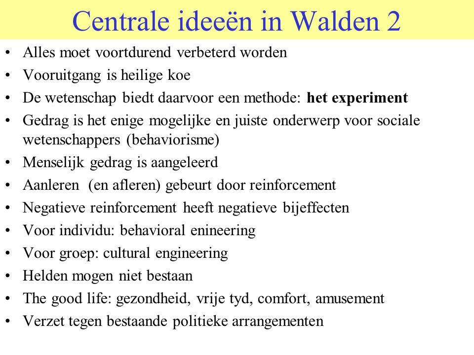 Centrale ideeën in Walden 2 Alles moet voortdurend verbeterd worden Vooruitgang is heilige koe De wetenschap biedt daarvoor een methode: het experimen