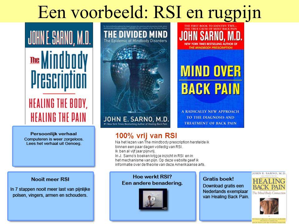 Een voorbeeld: RSI en rugpijn 100% vrij van RSI Na het lezen van The mindbody prescription herstelde ik binnen een paar dagen volledig van RSI. Ik ben