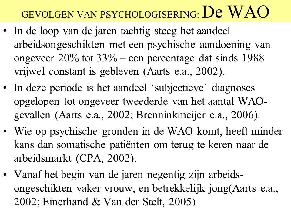 GEVOLGEN VAN PSYCHOLOGISERING: De WAO In de loop van de jaren tachtig steeg het aandeel arbeidsongeschikten met een psychische aandoening van ongeveer
