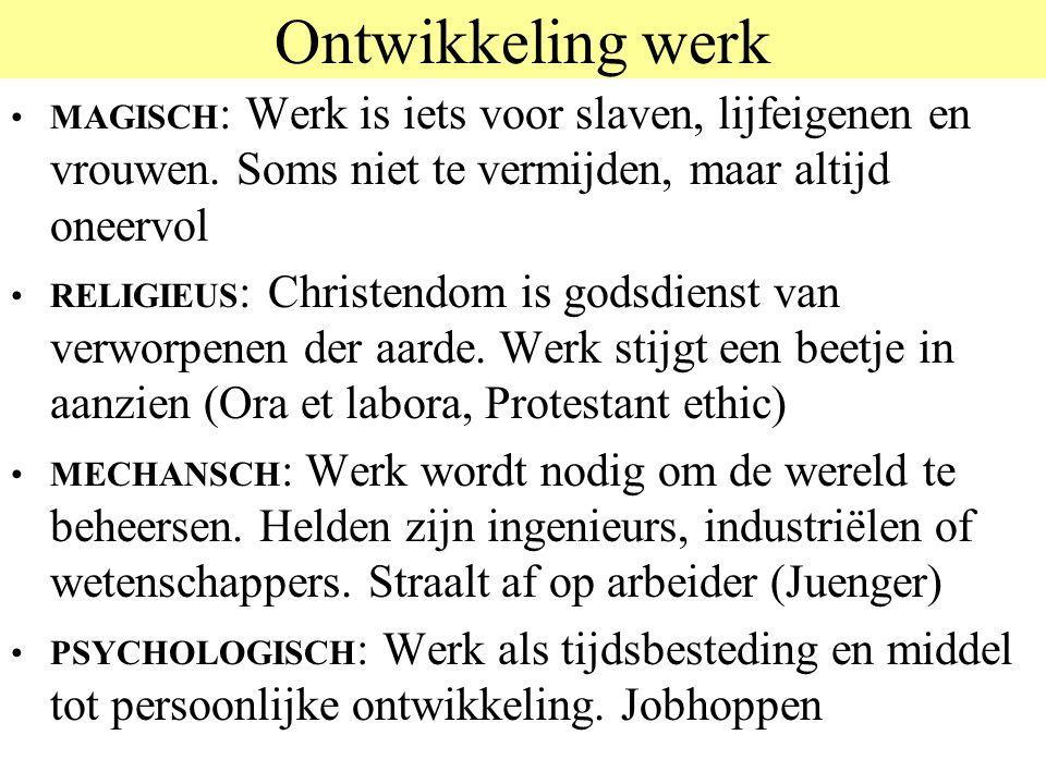 Ontwikkeling werk MAGISCH : Werk is iets voor slaven, lijfeigenen en vrouwen. Soms niet te vermijden, maar altijd oneervol RELIGIEUS : Christendom is