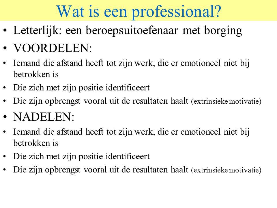 © 2006 JP van de Sande RuG Wat is een professional? Letterlijk: een beroepsuitoefenaar met borging VOORDELEN: Iemand die afstand heeft tot zijn werk,
