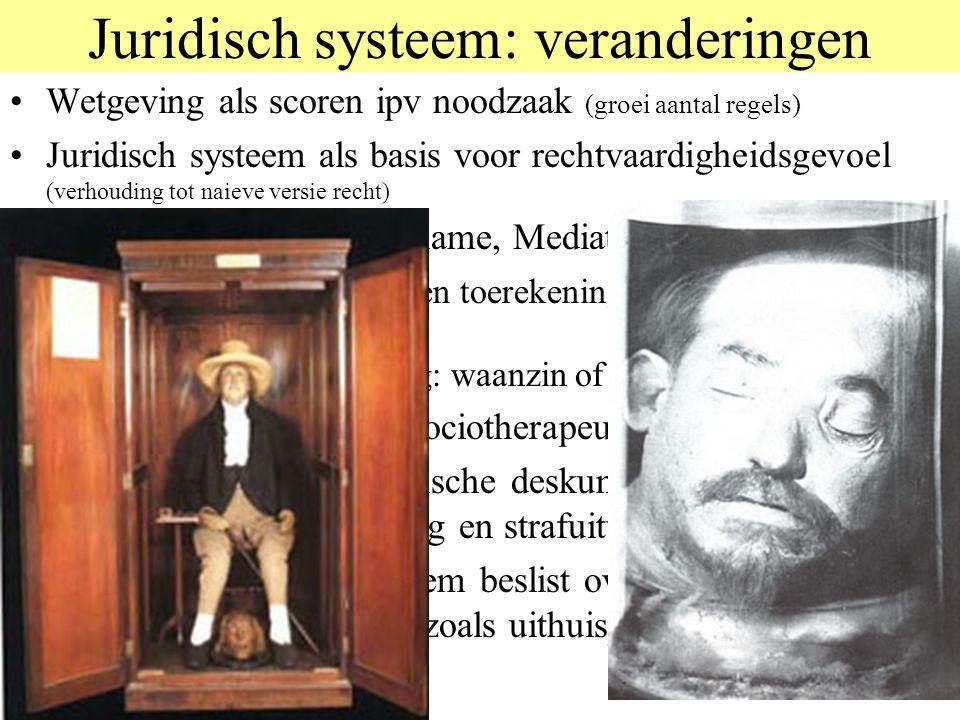 Juridisch systeem: veranderingen Wetgeving als scoren ipv noodzaak (groei aantal regels) Juridisch systeem als basis voor rechtvaardigheidsgevoel (ver