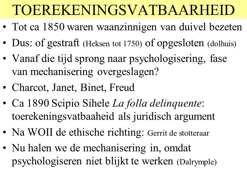 TOEREKENINGSVATBAARHEID Tot ca 1850 waren waanzinnigen van duivel bezeten Dus: of gestraft (Heksen tot 1750) of opgesloten (dolhuis) Vanaf die tijd sp